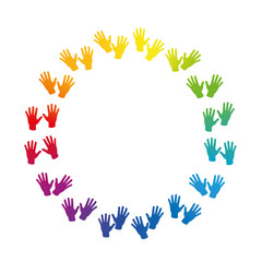 HANDS - rainbow colored circle frame. Isolated vector illustration on white background.