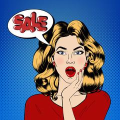 Pop art Style Sale banner. Vintage Girl Shouts Sale in Comics Style