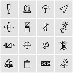 Vector line marking of cargo icon set. Marking of Cargo Icon Object, Marking of Cargo Icon Picture, Marking of Cargo Icon Image - stock vector