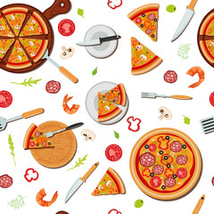 Pizza Seamless Pattern with Ingredients