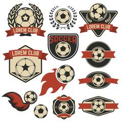 Set of the soccer club emblems. Vector design element