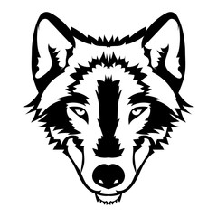 Vector illustration of wolf face black and white tattoo
