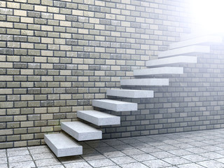 Conceptual white stone or concrete stair or steps near a brick wall