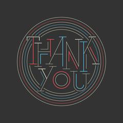 Retro thank you card on black background.