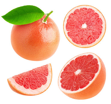Isolated whole and cut grapefruits collection