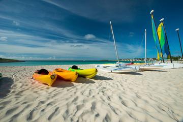 Kayaks in Maundays bay, Anguilla Island