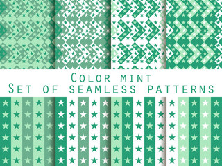 Stars. Set seamless patterns. Color mint. The pattern for wallpaper, bed linen, tiles, fabrics, backgrounds. Vector illustration