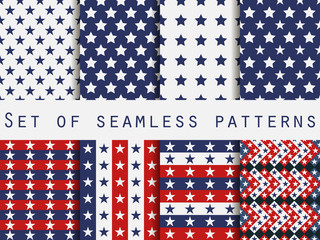 Stars. Set seamless patterns. Red, blue and white color. The pattern for wallpaper, bed linen, tiles, fabrics, backgrounds. Vector illustration.