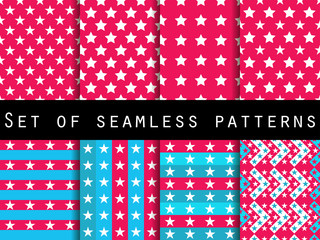 Stars. Set seamless patterns. The pattern for wallpaper, bed linen, tiles, fabrics, backgrounds. Vector illustration.