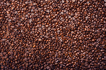 Roasted coffee beans. Background. Top view