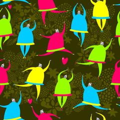Seamless pattern of dancing girls.