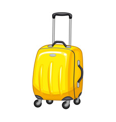 Yellow suitcase on wheels.