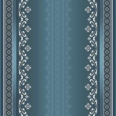 Filigree seamless white border on aquamarine background.