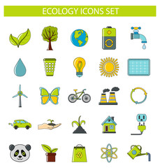 Ecology icons set in cartoon style