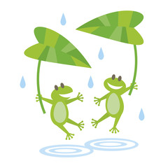 2 Frogs in the rain