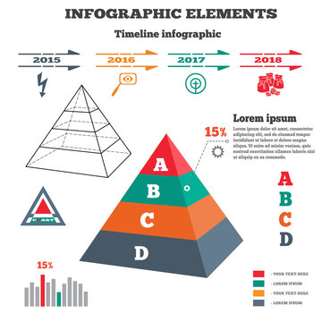 Infographics elements. Pyramid solid chart. 3D perspective pyramid views, timeline with icons. Four options. Vector illustration.