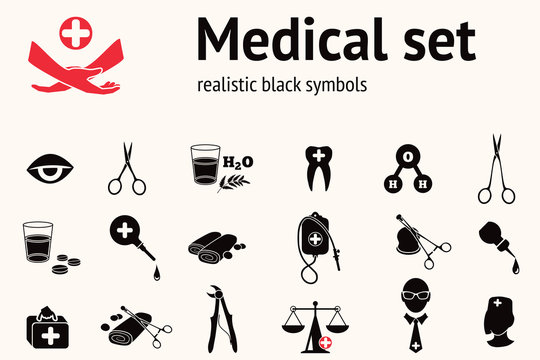 Medical icon set. Health and medicine tool symbols. Forceps, pincers, enema, clamp, bandage, insurance, spectacles, glasses, eye, drop, bag, water.  Black signs on white. Vector isolated