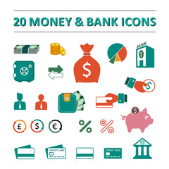 20 money and bank icons set