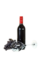 Red wine with glass and red grapes on white background