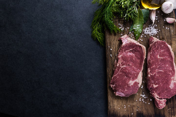 Beef sirloin steaks , food border background Wall mural