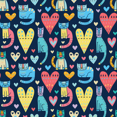 Wall Mural - Cats and love, love and cats. Funny colorful vector seamless pat