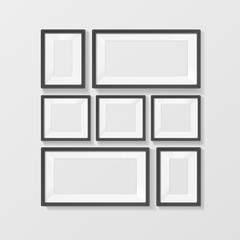 Realistic Black Picture Frames Set. Vector
