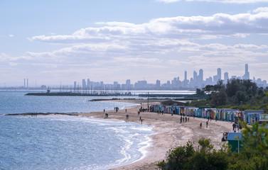 Brighton beach landscape, Melbourne, Australia.