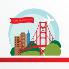 Golden Gate bridge - The symbol of US, San Francisco.. Vintage stamp with red ribbon