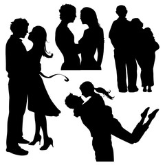 various couples in love silhouettes