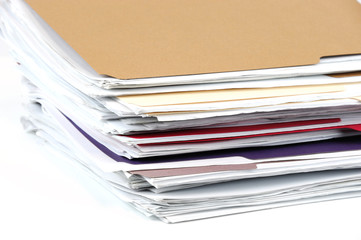 close up on stacking documents