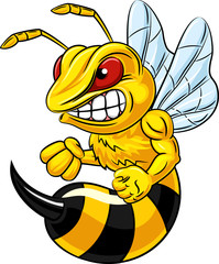 Illustration of angry bee mascot isolated on white background