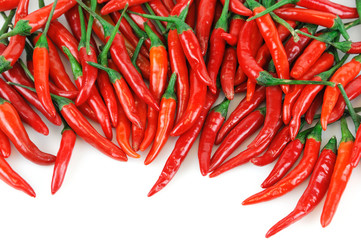 red spicy peppers isolated on white background