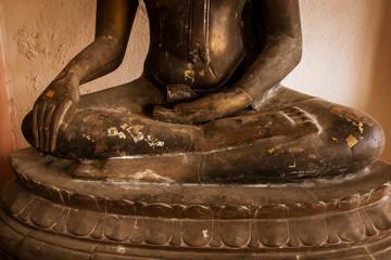 close up of hand buddha statue