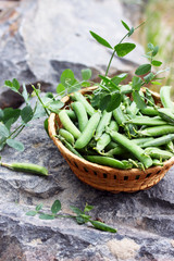 Green peas on a rock