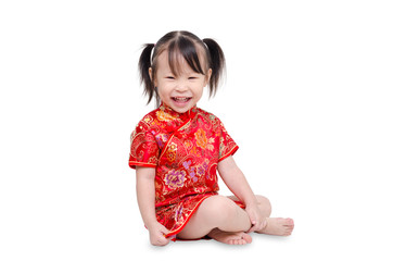 Little chinese girl smiles over white background