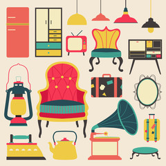 Old retro media communication technology and house appliance furniture and kitchen tool  flat icon design, create by vector