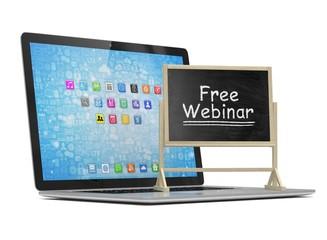 Laptop with chalkboard, free webinar, online education concept