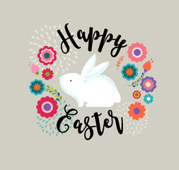 Easter design with cute banny and text, hand drawn illustration