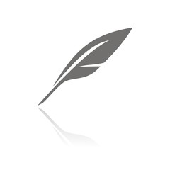 Pen icon on white background with reflection