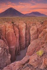 Narrow canyon and Volcan Licancabur, Atacama Desert, Chile