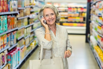 Smiling senior woman on phone call