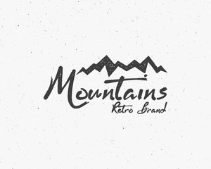 Hand drawn wilderness old style typography poster with retro mountains Letterpress Print Rubber Stamp Effect. Scratch background. Artwork for hipster wear. vector Inspirational vintage brand design.