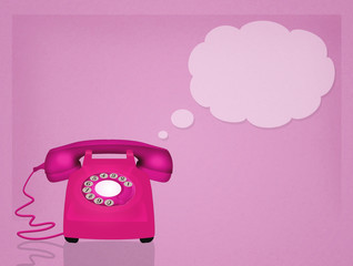 illustration of pink phone