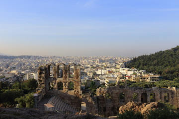 Ancient theatre under Acropolis of Athens and view of city, Greece
