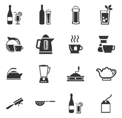 Utensils for the preparation of beverages icons set