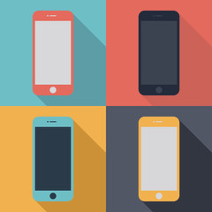 smartphone icons set in the style flat design on the background different colors. stock vector illustration eps10
