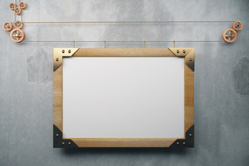 Blank picture frame in the style of steampunk, mock up