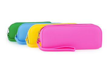 Colorful silicone rubber pencil case isolated