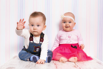 Baby boy and girl twins portrait