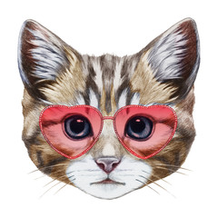 Cat in Love! Portrait of Cat with heart shaped sunglasses. Hand-drawn illustration, digitally colored.